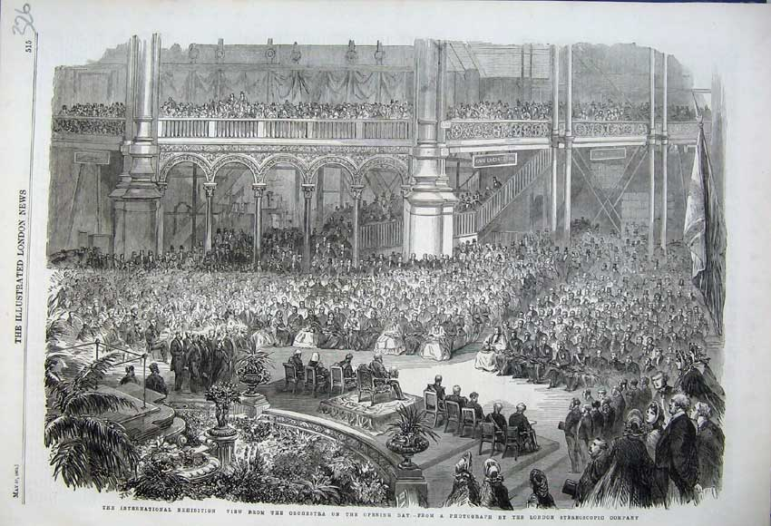 Print 1862 International Exhibition View Orchestra Music 326N113 Old Original