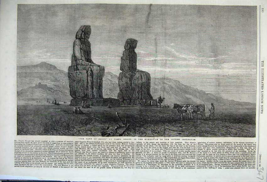 Print 1862 Land Egypt Stautes Mountains Camels Frank Dillon 347N113 Old Original