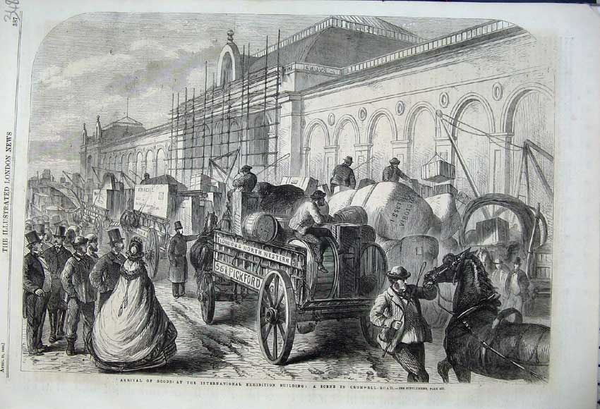 Print 1862 Cromwell Road Arrival Goods Exhibition Building 348N113 Old Original
