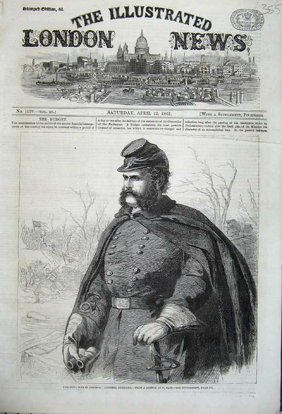 Print Civil War America 1862 Portrait General Burnside Nast 355N113 Old Original