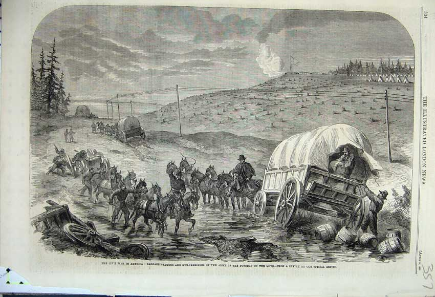 Print 1862 Civil War America Baggage Wagons Potomac Carriage 357N113 Old Original