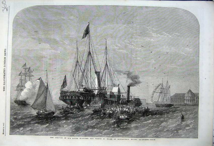 Print 1862 Royal Highness Prince Wales Ship Alexandria Egypt 360N113 Old Original