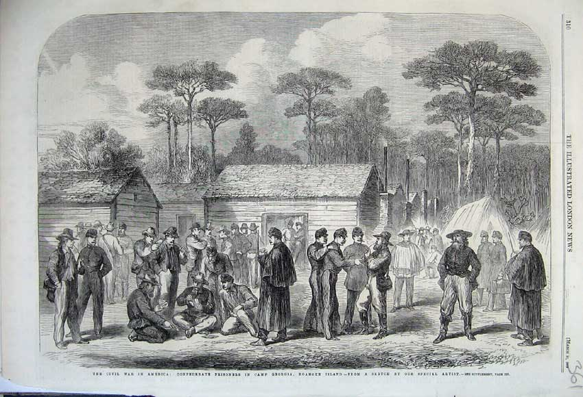 Print *0156 1862 Civil War America Prisoners Camp Georgia Roanoke 361N113 Old Original