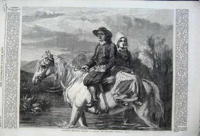 Print 1862 Brittany Peasants Fording Stream Horse Country 367N113 Old Original