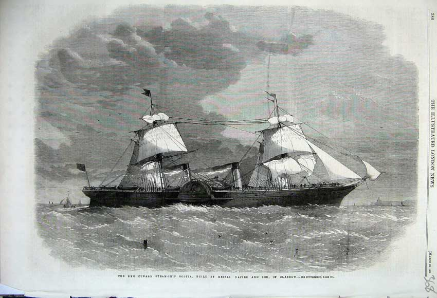 Print 1862 Cunard Steam Ship Scotia Napier Glasgow Maritime 368N113 Old Original