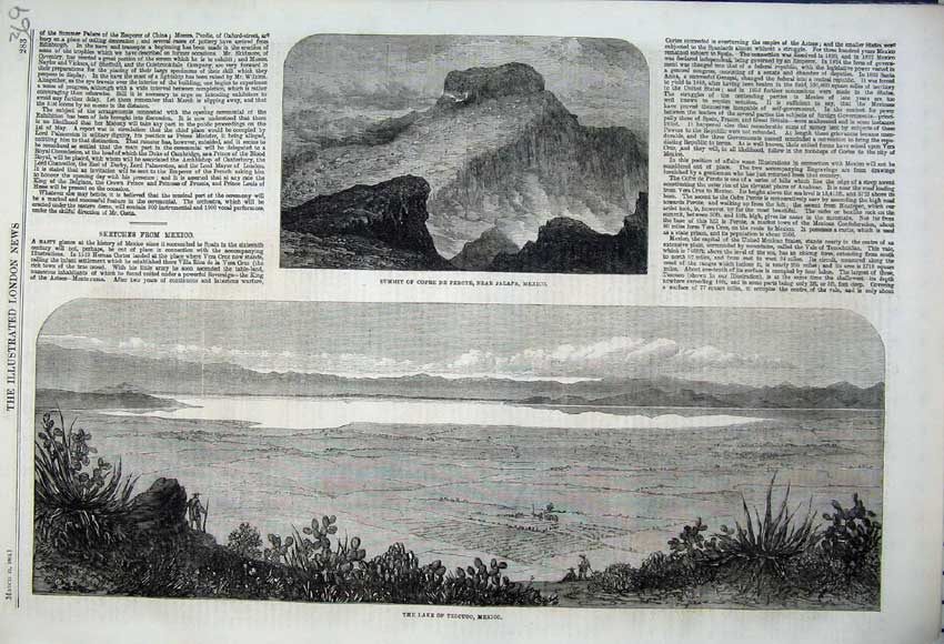 Print 1862 Lake Tezcuco Mexico Summit Cofre Perote Mexico 369N113 Old Original