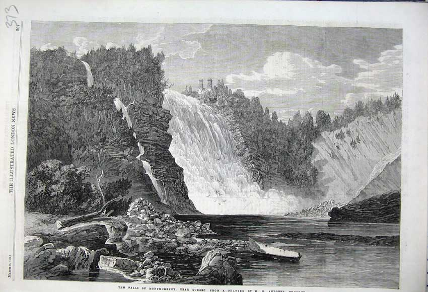 Print 1862 Falls Montmorency Quebec Canada River Trees Cliffs 373N113 Old Original