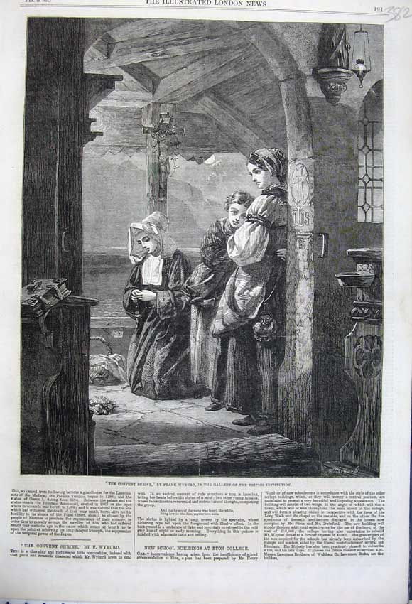 Print 1862 Convent Shrine Nun Woman Children Frank Wyburd 382N113 Old Original