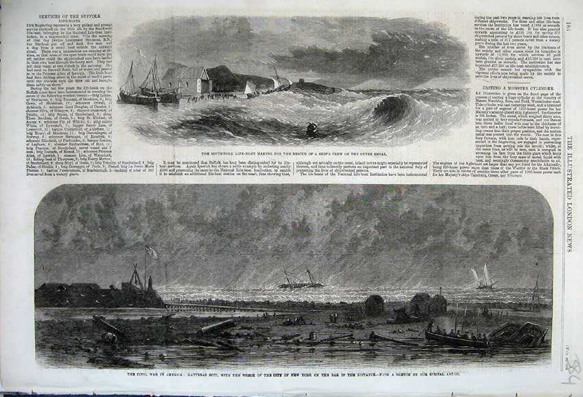 Print 1862 Civil War America SouthwLife-Boat Wreck Ship 384N113 Old Original