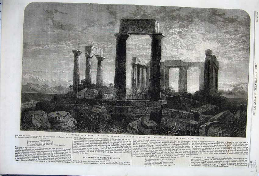 Print 1862 Temple Minerva Aegina Greece Harry Johnson 387N113 Old Original
