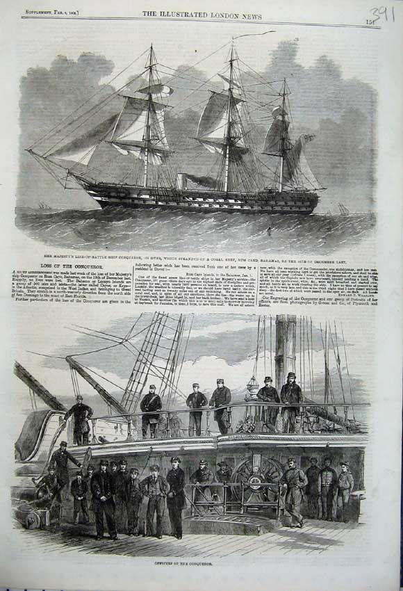 Print 1862 Officers Conqueror Battle Ship Bahamas Rum Cayo 391N113 Old Original