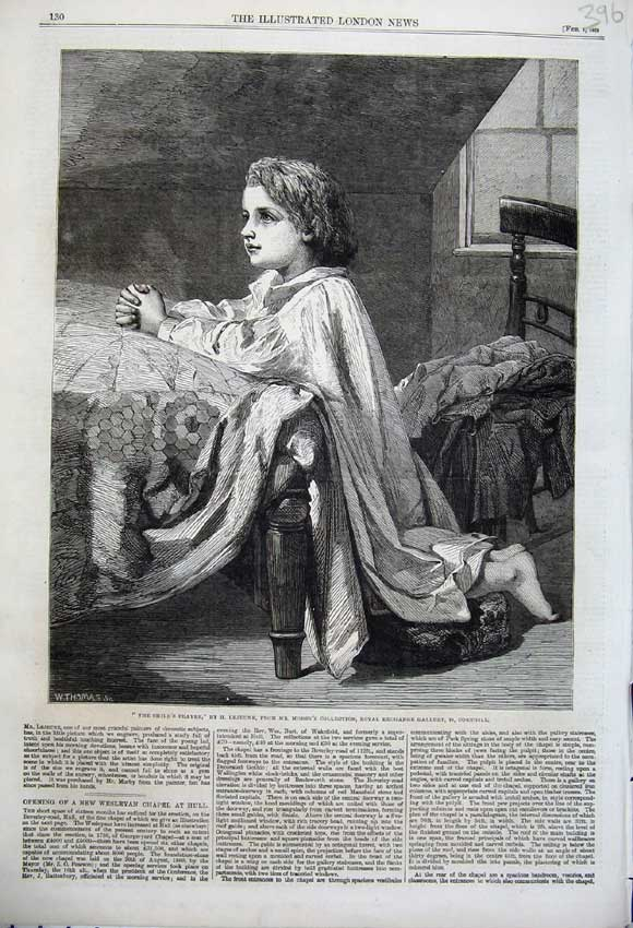 Print 1862 Young Child Praying Bedroom Morby Cornhill Art 396N113 Old Original