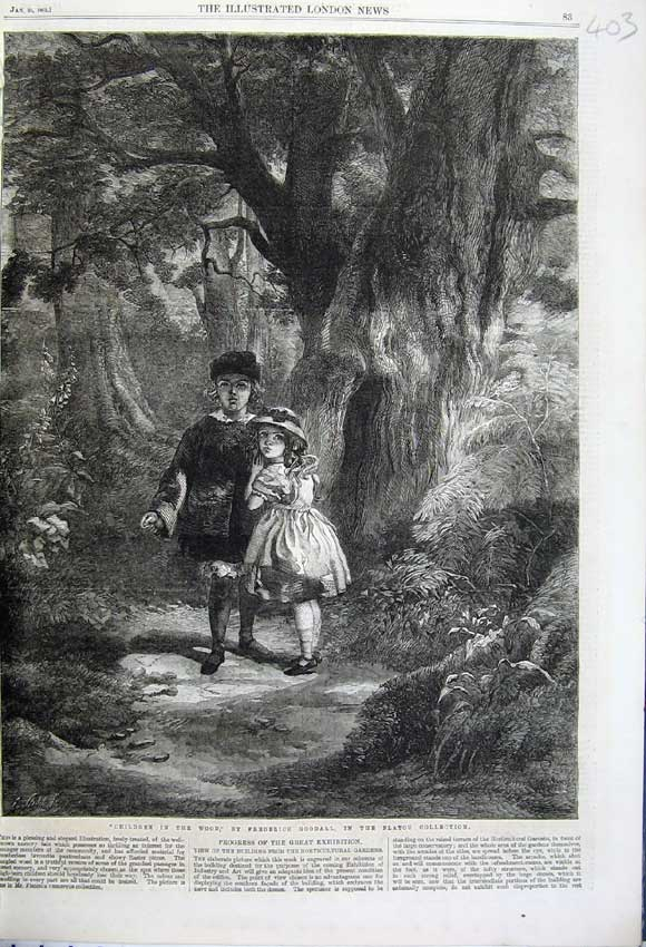 Print 1862 Children Wood Trees Frederick Goodall Flatou 403N113 Old Original