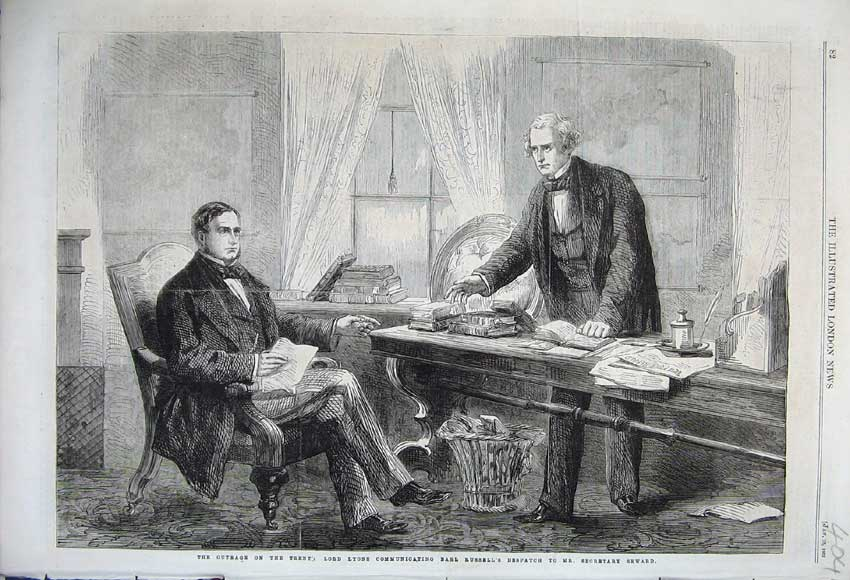 Print 1862 Lord Lyons Communicating Earl Russell Desk Books 404N113 Old Original
