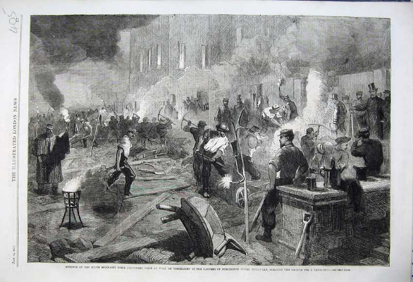 Print 1862 Middlesex Rifle Volunteers Gardens Burlington Work 405N113 Old Original