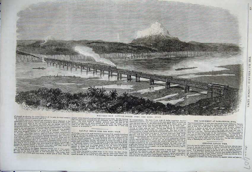 Print 1862 Wrought Iron Lattice Railway Bridge Ebro Spain 407N113 Old Original