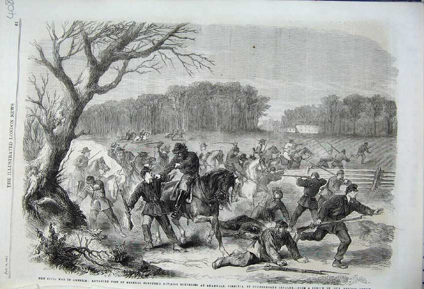 Print 1862 Civil War America General Blenker Battle Anandale 408N113 Old Original
