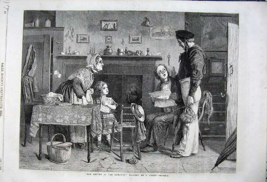 Print 1862 Family Interior House Table Chair Return Runaway 411N113 Old Original