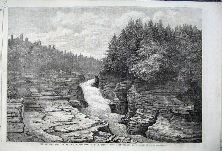 Print 1862 Steps River Montmorency Quebec Canada Trees Rocks 412N113 Old Original