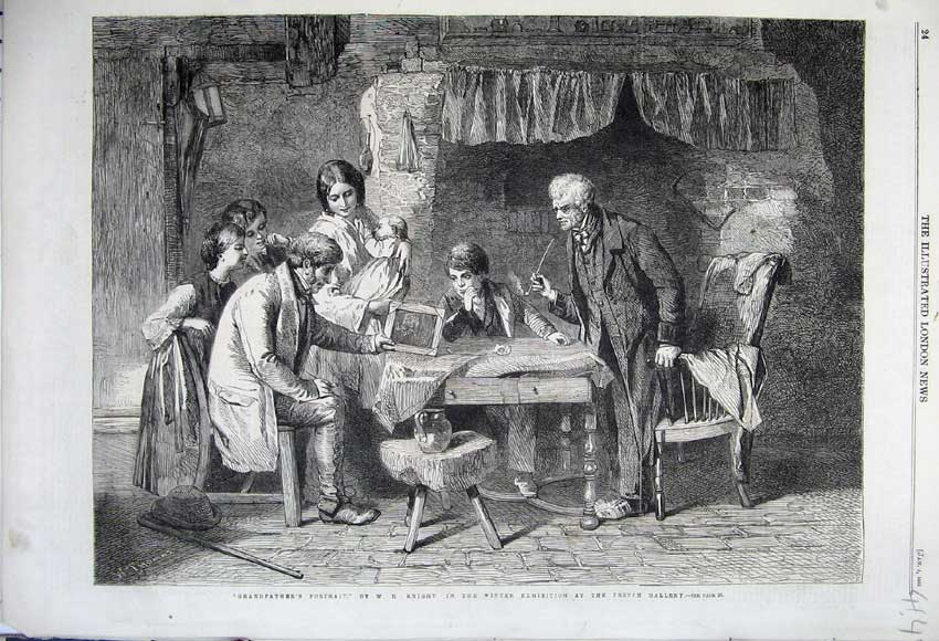Print 1862 Grandfathers Portrait Family House Table Knight 414N113 Old Original