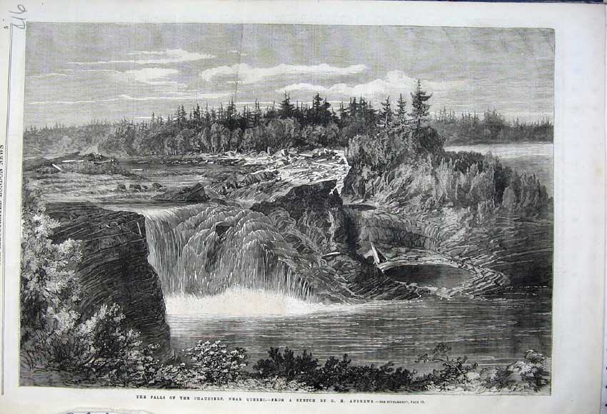 Print 1862 Falls Chaudierf Quebec Canada Trees Rocks Andrews 416N113 Old Original