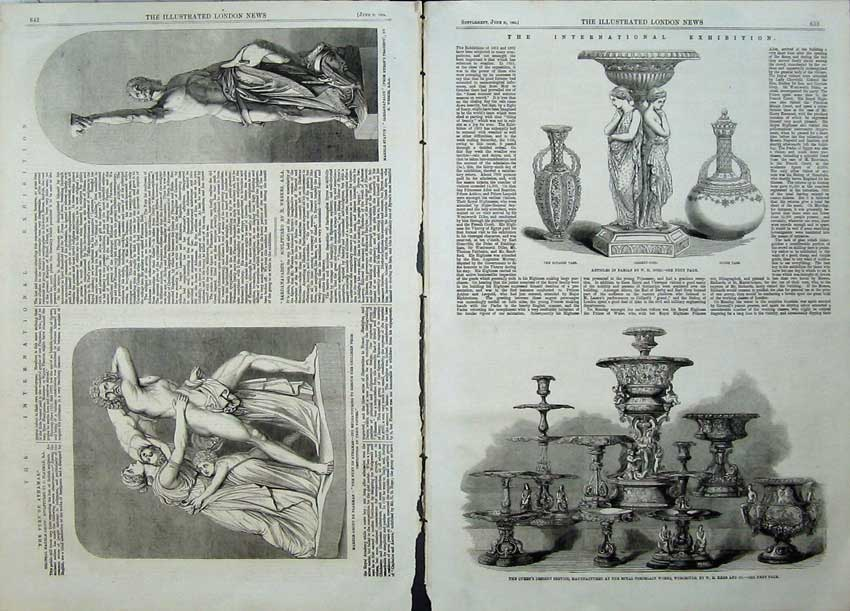 Print 1862 Queen Desert Service Vase Marble Statue Exhibition 502Tn113 Old Original