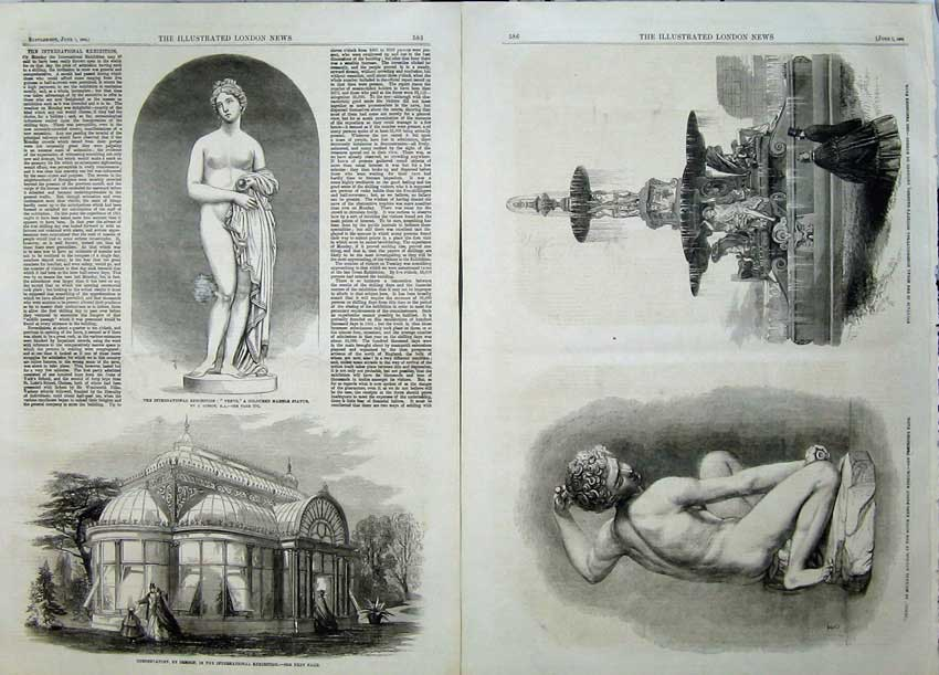 Print 1862 Statue Venus Conservatory Fountain Cupid Angelo 507Tn113 Old Original