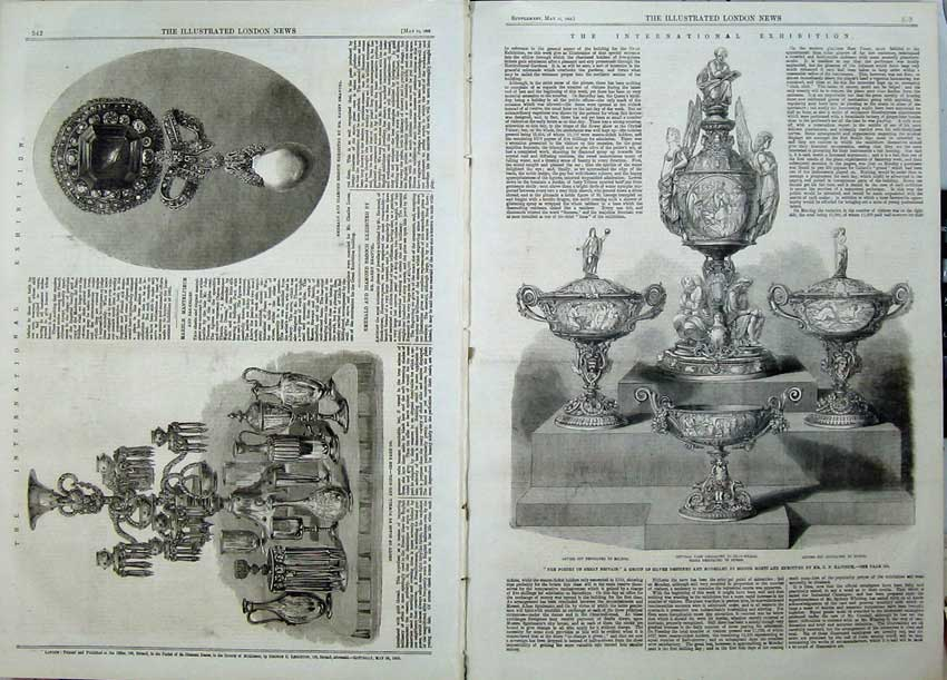 Print 1862 Silver Cup Tazza Vase Milton Glass Powel Brooch 510Tn113 Old Original