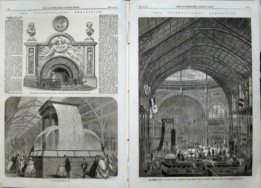 Print Transept Exhibition Building 1862 Gwynne Pump Marble 513Tn113 Old Original