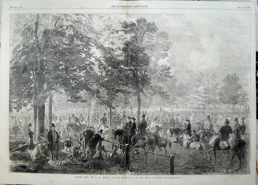 Print 1862 Rotten Row Horses Hunting Sport Family Country 515Tn113 Old Original