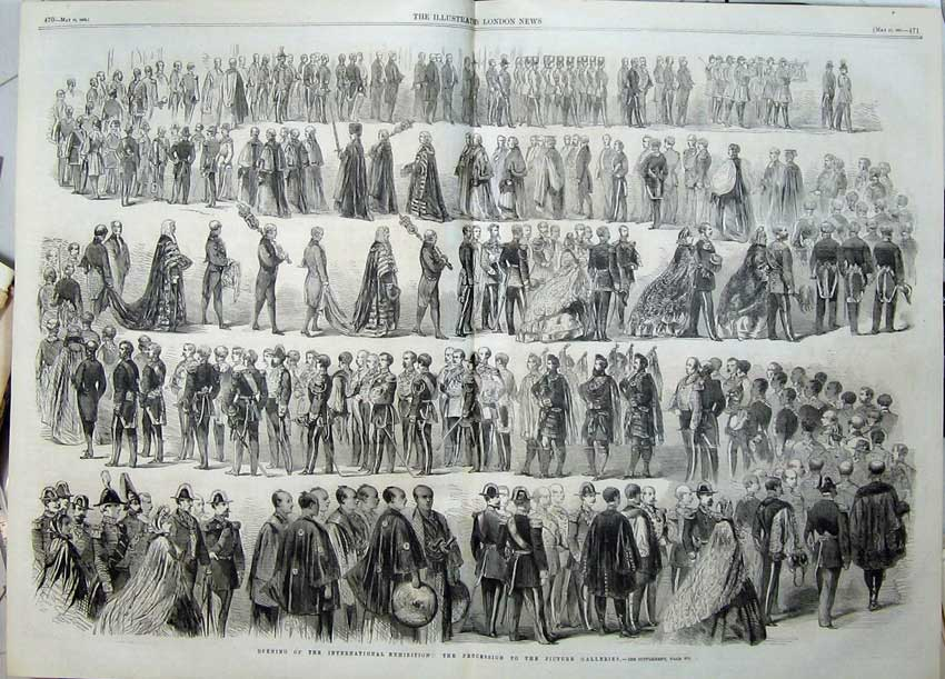 Print Procession Opening International Exhibition Kilts 1862 518Tn113 Old Original
