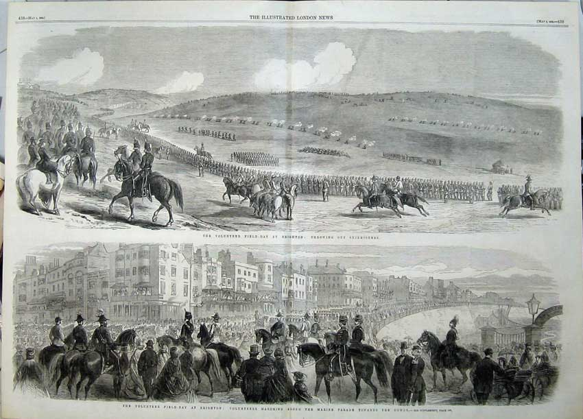 Print 1862 Volunteer Field-Day Brighton Marine Parade Horses 522Tn113 Old Original
