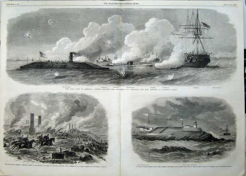 Print 1862 Civil War America Cavalry Scout Ships Cork Harbour 525Tn113 Old Original