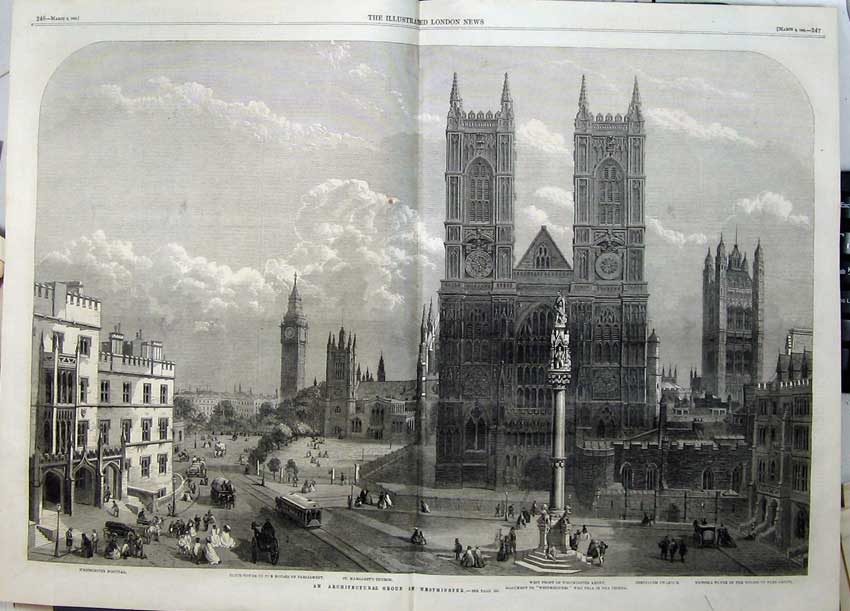 Print Westminster Abey 1862 Parliament Clock-Tower Hospital 528Tn113 Old Original
