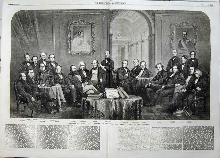 Print Eastham Treaty Commerce France England 1862 Palmerston 531Tn113 Old Original