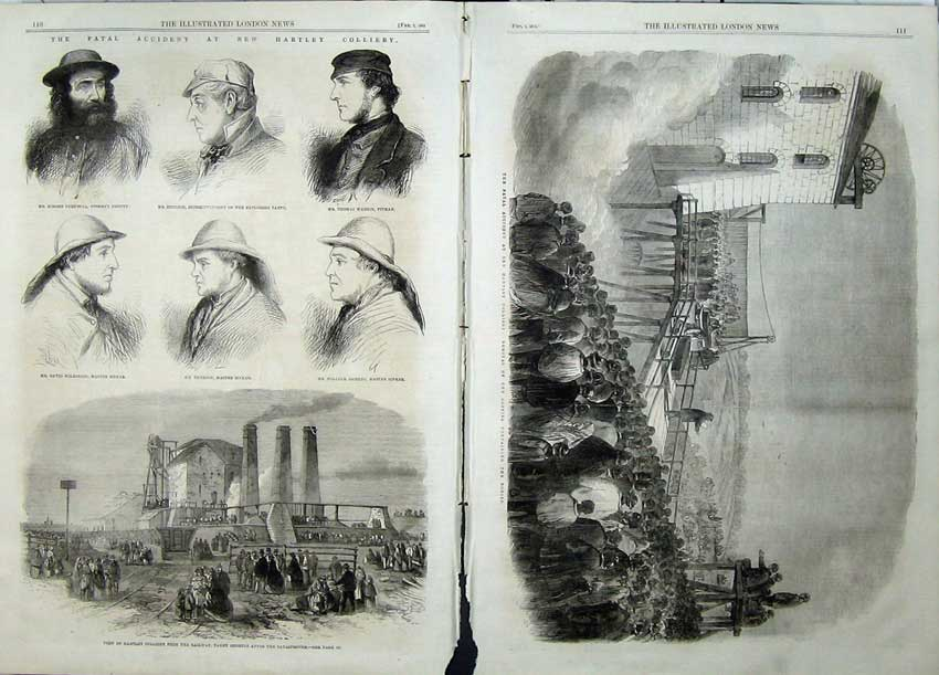 Print 1862 Hartley Colliery Coffins Railway Coulson Emerson 534Tn113 Old Original