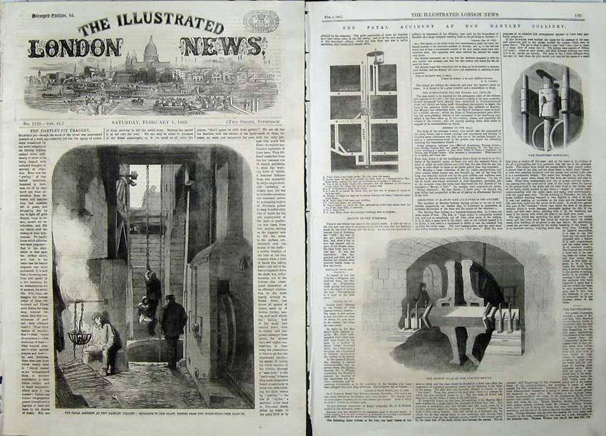 Print 1862 Hartley Colliery Shaft Accident Pumping Engine Cap 535Tn113 Old Original