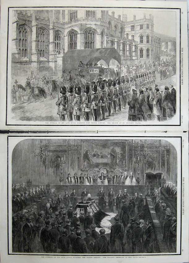 Print 1862 Funeral Prince Consort George'S Chapel Hearse 538Tn113 Old Original