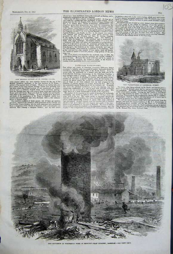 Print Explosion Edmunds Collery Barnsley 1862 Church Surrey 103N114 Old Original