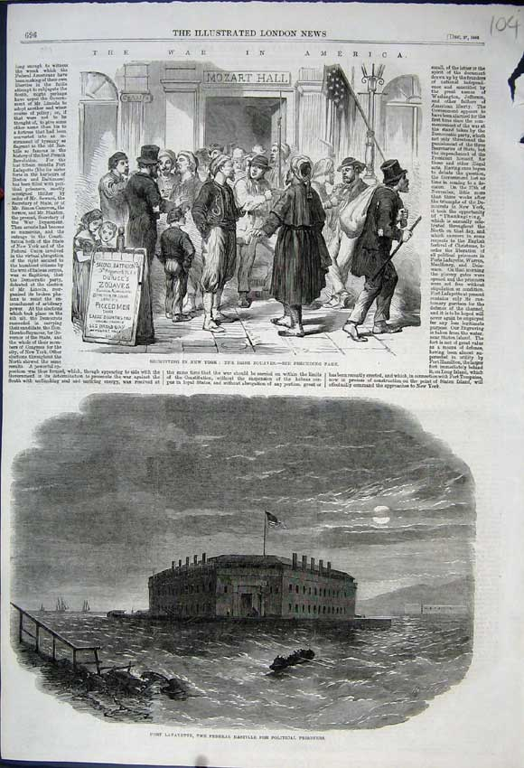 Print 1862 Fort Lafayette Bastille New York Irish Zouaves War 104N114 Old Original