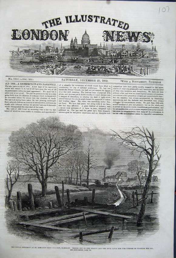 Print 1862 Explosion Edmund'S Colliery Barnsley Trench Canal 107N114 Old Original
