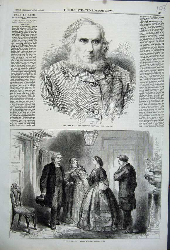 Print 1862 Portrait James Sheridan Knowles Effie Blount Men 108N114 Old Original
