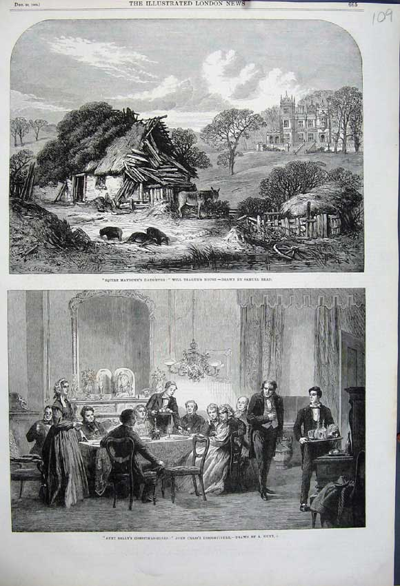 Print 1862 Will Teague House Ruins Donkey John Crass Dinner 109N114 Old Original