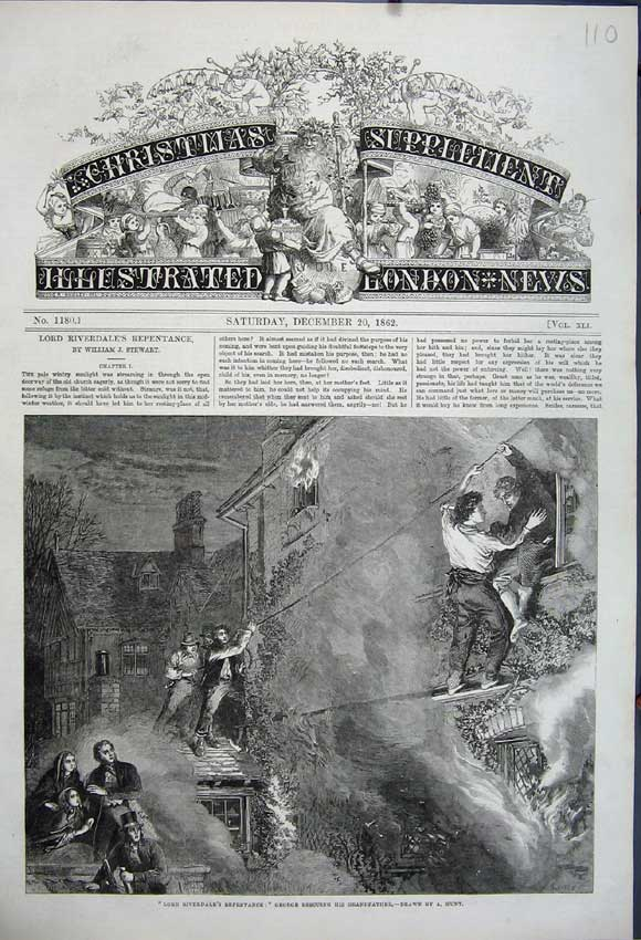Print Lord Riverdale 1862 George Rescuing Grandfather Fire 110N114 Old Original