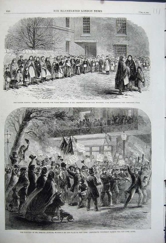 Print 1862 Election Horation Seymour Governor Cotton Famine 111N114 Old Original