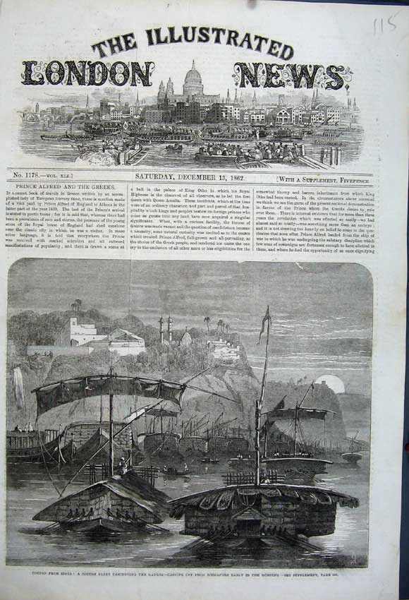 Print 1862 Cotton India Sailing Ship Fleet Ganges Mirzapore 115N114 Old Original