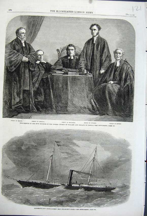 Print 1862 Dudgeon Iron Steam-Ship Flora Bishops Dioceses Men 121N114 Old Original