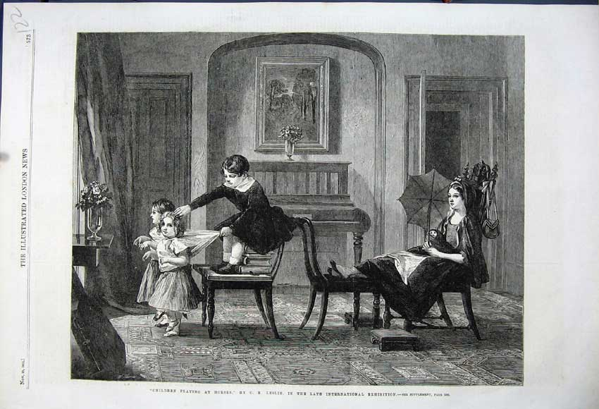 Print 1862 Children Playing Horses Chairs Mother Umbrella 122N114 Old Original