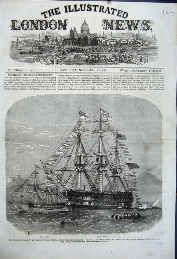 Print 1862 Ships H. M. S Doris London Bay Naples Prince Prussia 124N114 Old Original