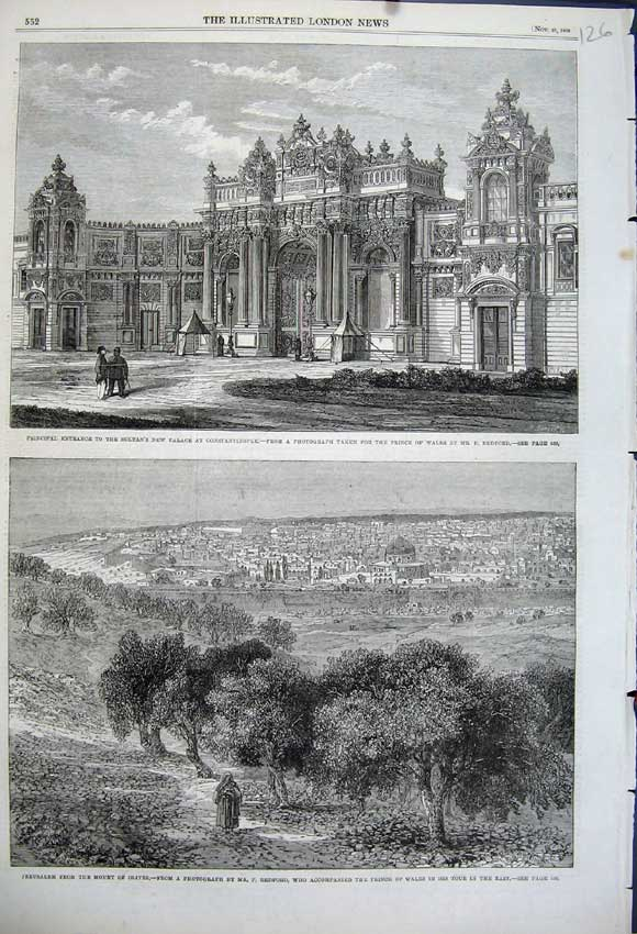 Print 1862 View Jerusalem Sultan Palace Constantinople Wales 126N114 Old Original